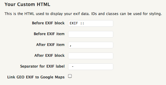 Thesography HTML options for tooltip display