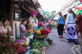 American students walking in Burmese local market.