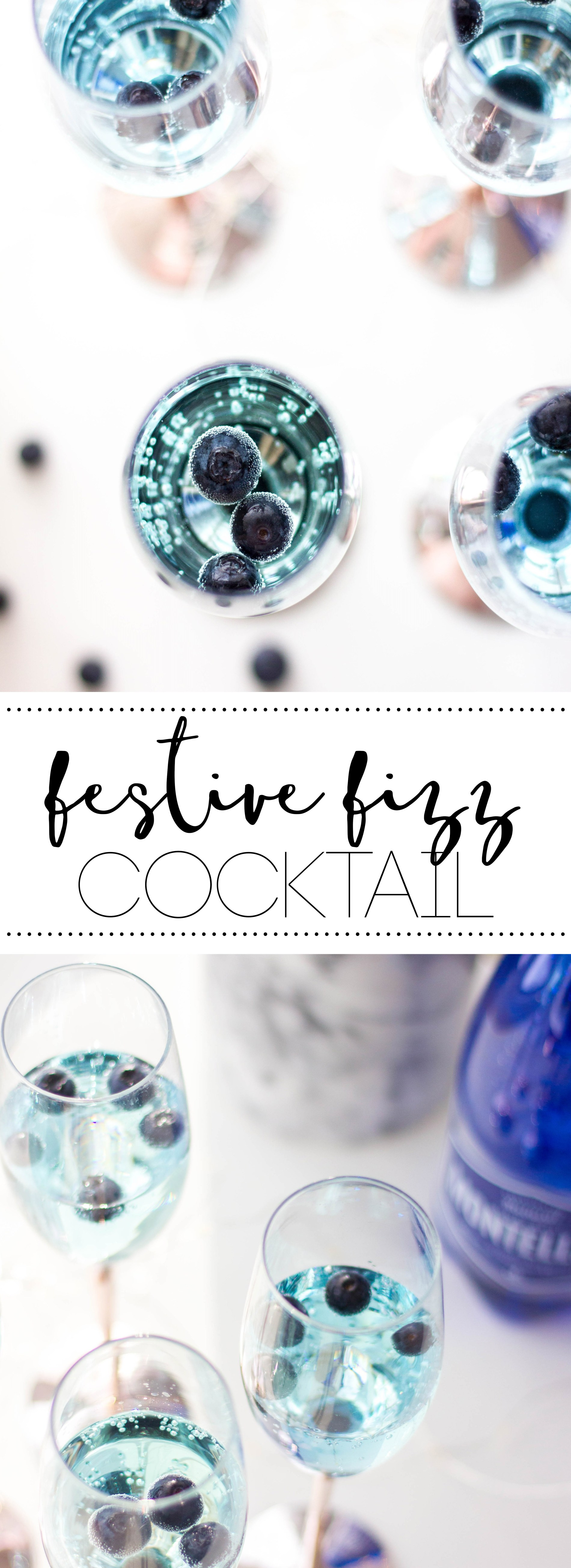 Festive Fizz Cocktail- Refreshing alcoholic drink with notes of citrus. #drink #bluedrink #bluecaracao