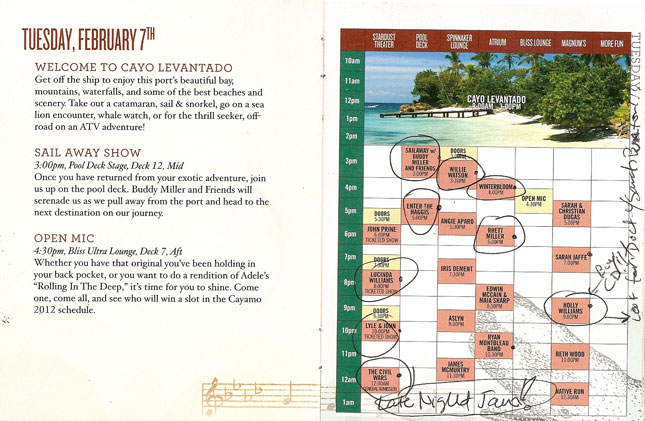 Cayamo 2012: Schedule for Tuesday, February 7th
