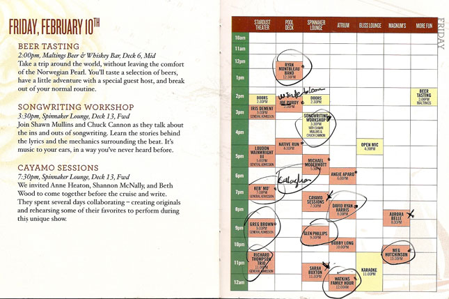 Cayamo 2012: Schedule for Friday, February 10th