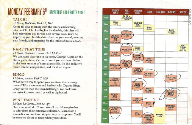 Cayamo 2012: Schedule for Monday, February 6th