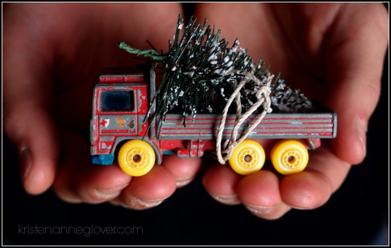 toy truck with Christmas tree