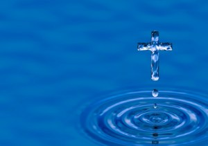 Holy water Cross. Blue water ripple as rood - religious metaphor