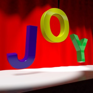 Joy Word On Stage As Symbol for Fun And Enjoyment Acting