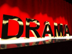 Drama Word On Stage Representing Broadway The West End And Actin