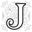 Decorative I, J, K, L alphabet letters with vintage floral elements in different designs in a square format behind each uppercase letter in black and white with grey silhouette detail, illustration