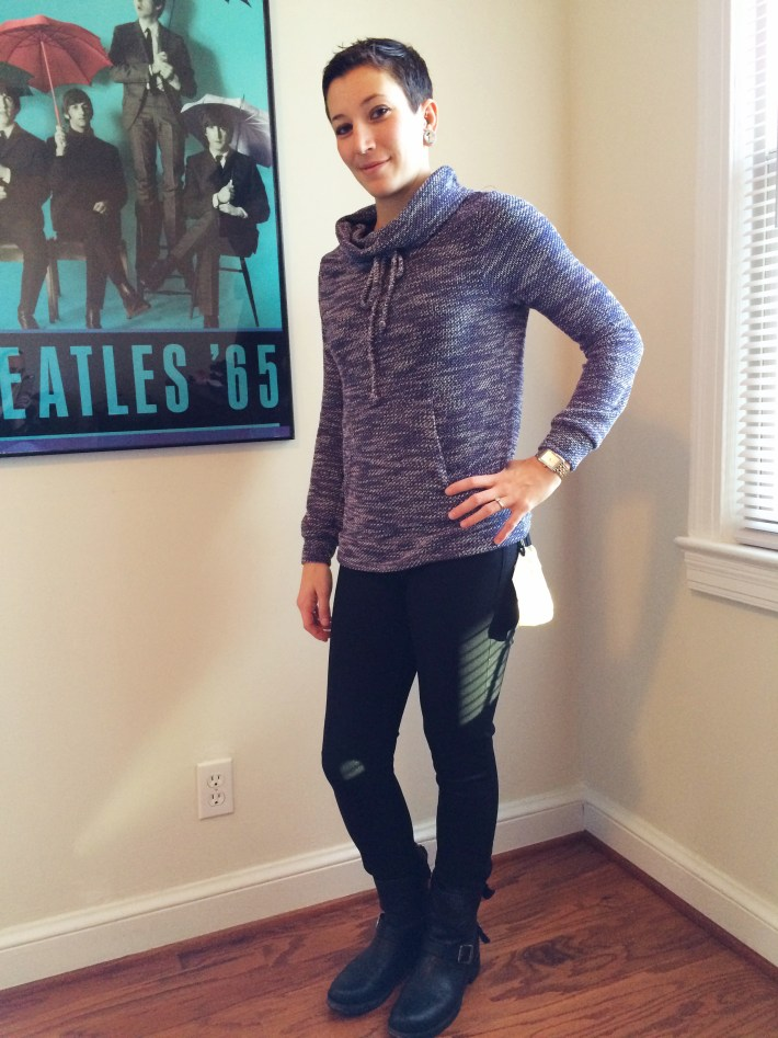 Loveappella Evie Draw String Funnel Neck Sweatshirt