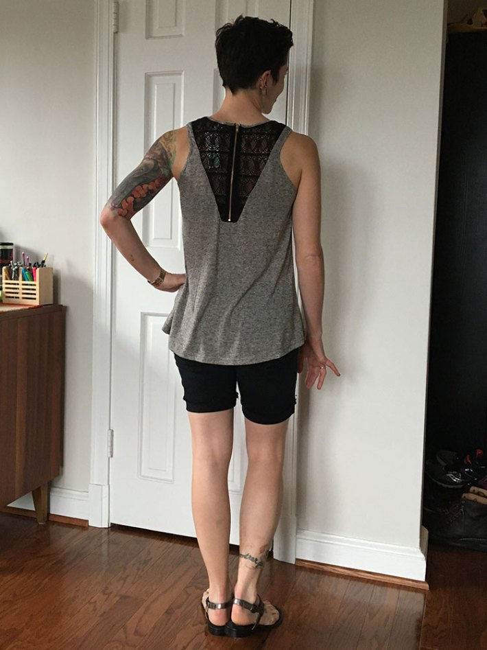 Pixley Banu Mesh Neckline Knit Top (back)