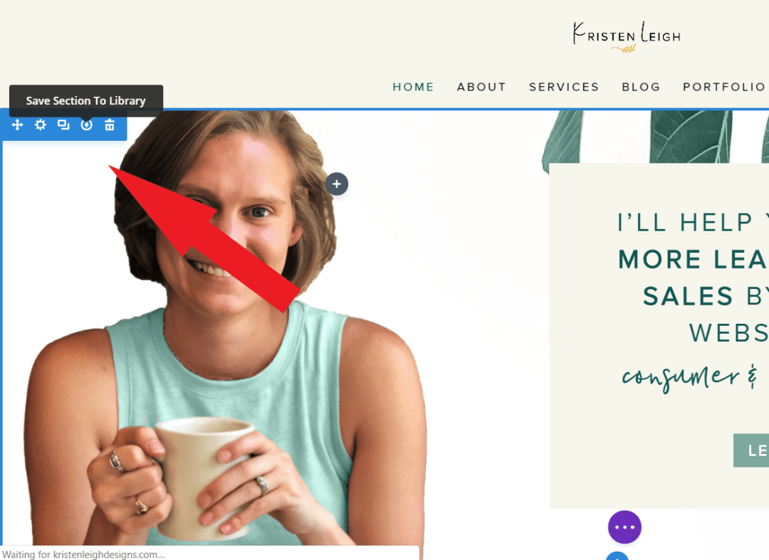 Kristen Leigh   Web Design Studio   How to Quickly Build a Divi Website   Section Menu