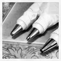 Black & White Photo of decorating tips
