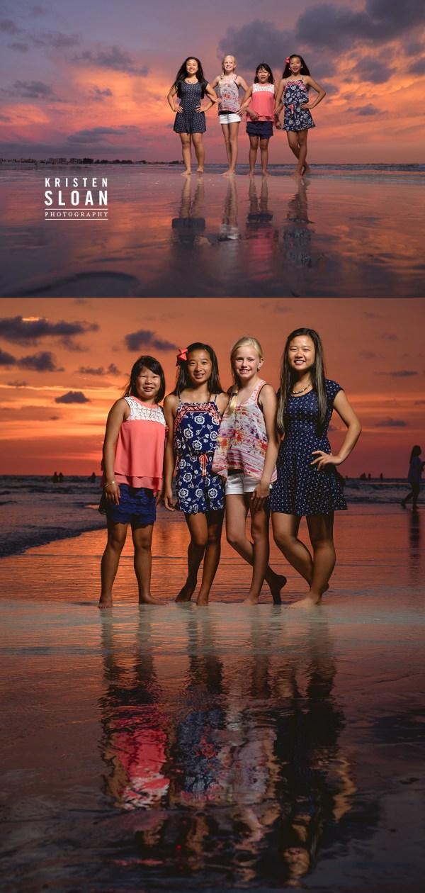 Sunset Family Beach Portraits in Treasure Island Florida | Treasure Island Wedding Portrait Photographer Kristen Sloan | St Pete Beach Wedding Portrait Photographer