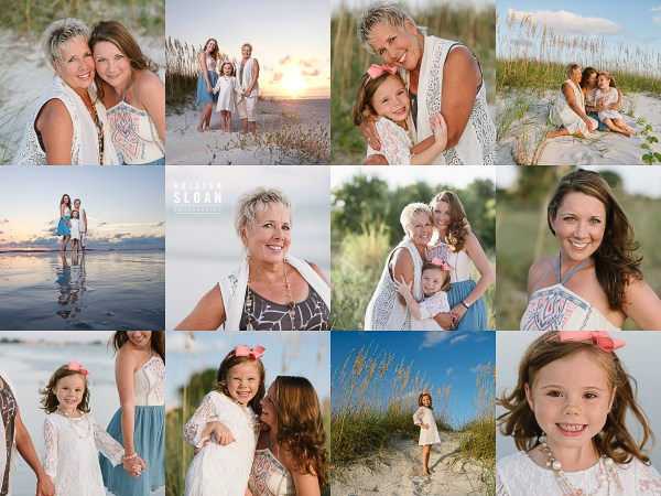 Treasure Island St Pete Beach Grandmother Mother Daughter Photos at Sunset |Treasure Island FL Famiy Kids Baby Photographer | St Pete Beach FL Photographer | What to wear to your beach Photo Portrait Session Blues Creams Pinks
