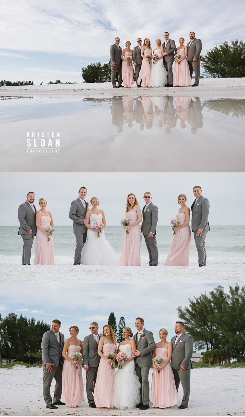 Anna Maria Island Florida Beach Wedding Photographer Kristen Sloan, Sandbar Restaurant Wedding Anna Maria Island, Pink annd Gray Beach Wedding