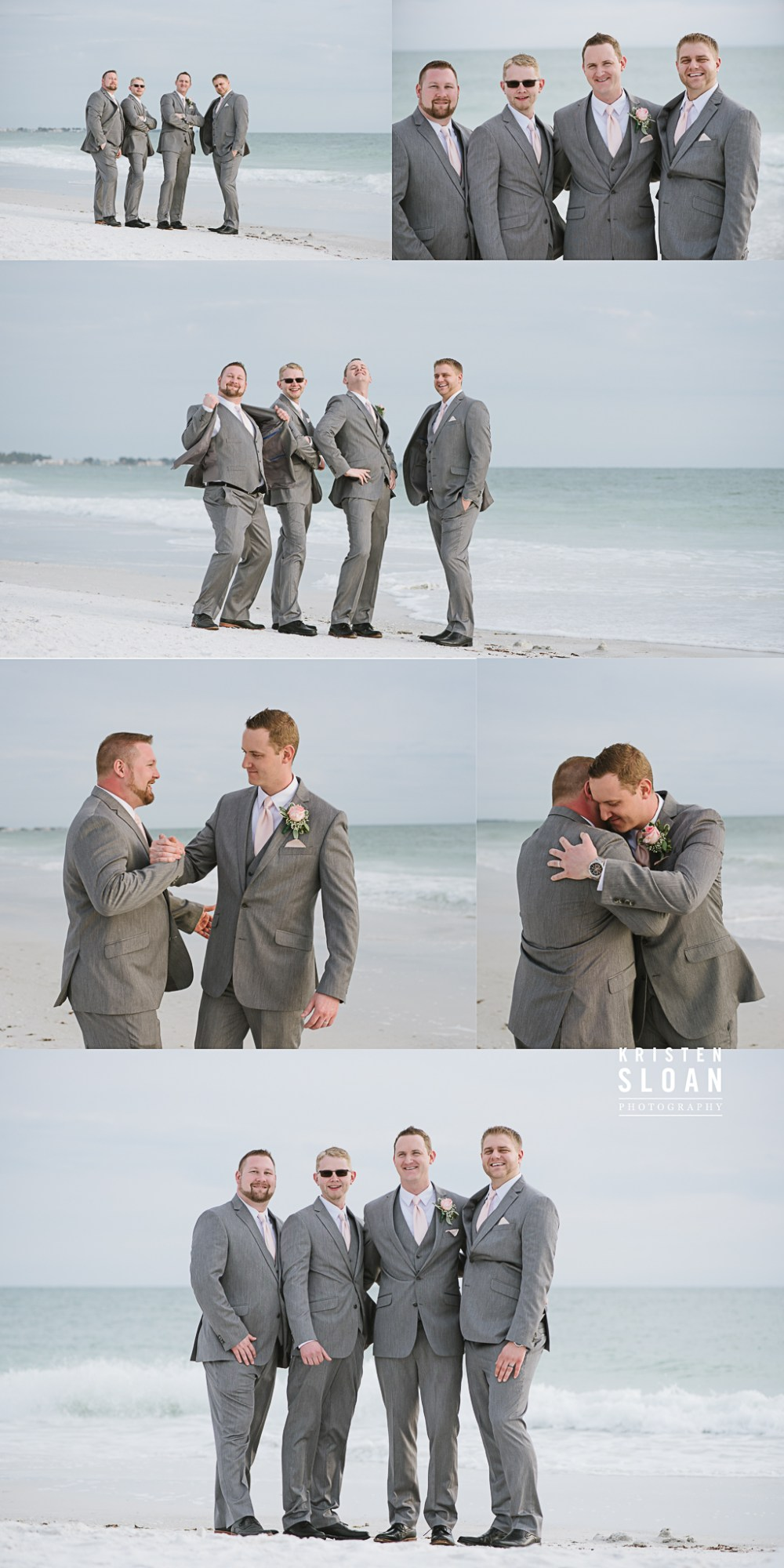 Anna Maria Island Florida Beach Wedding Photographer Kristen Sloan, Sandbar Restaurant Wedding Anna Maria Island, Groomsmen Grey Suits Beach Wedding