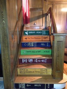 stair mural painted steps acrylic painting art books book step stairs