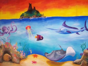 island octopus painting ocean undersea sea life acrylic paints mural