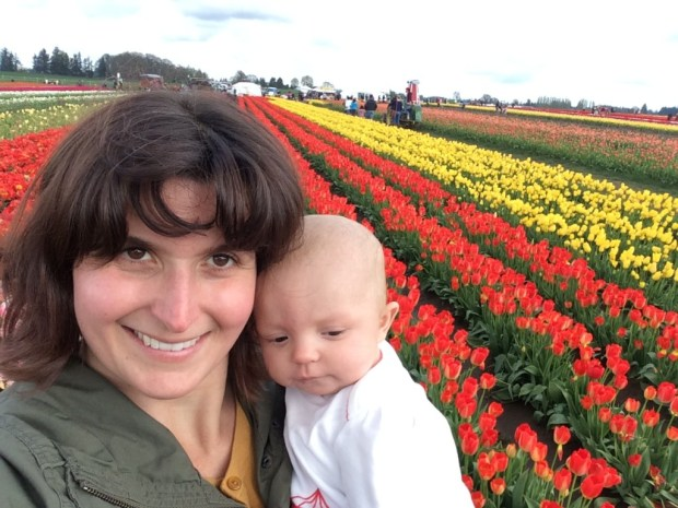 kristi and brigitte wooden shoe tulip
