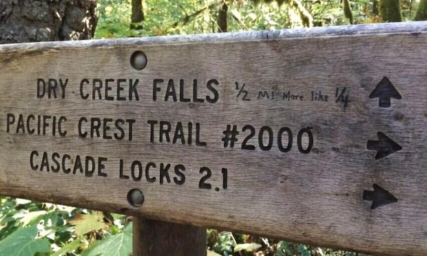 Dry Creek Falls trail sign
