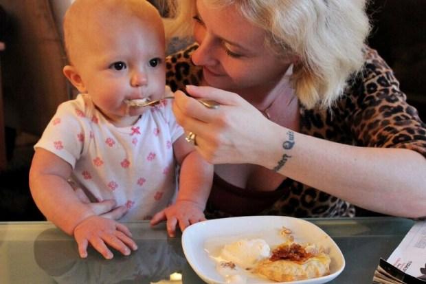 Apple Tart Baby eating