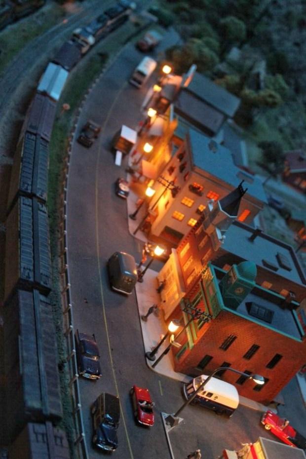 Model railroad town night