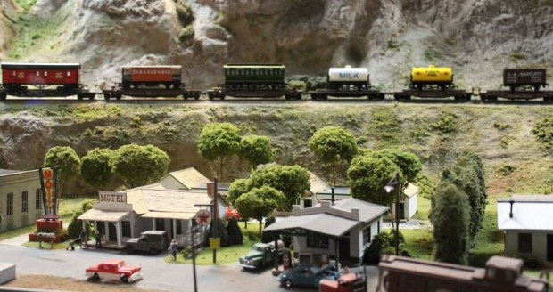 Model railroad town & train