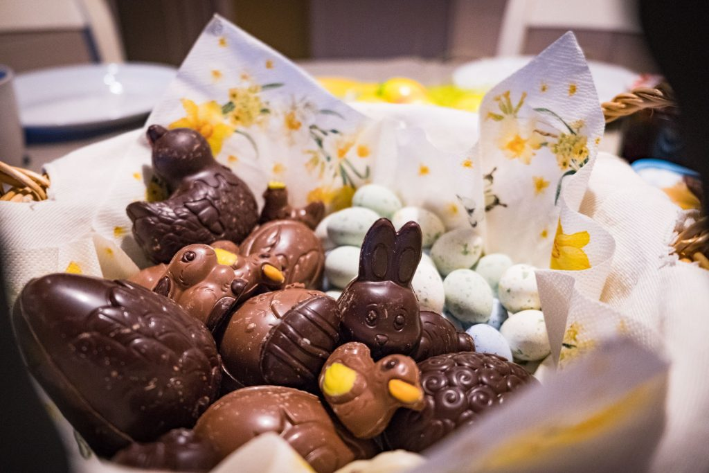 Chocolate Easter eggs, bunnies and chickens
