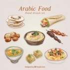 hand-painted-traditional-arabic-food_23-2147543538