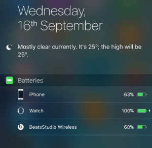 Off-center iOS 9 widget