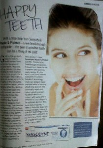 commercial teeth model smile sensodyne glamour magazine