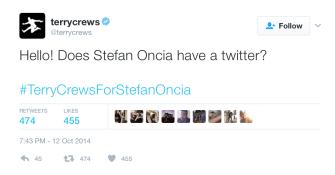 Terry Crews' tweet when he noticed us.