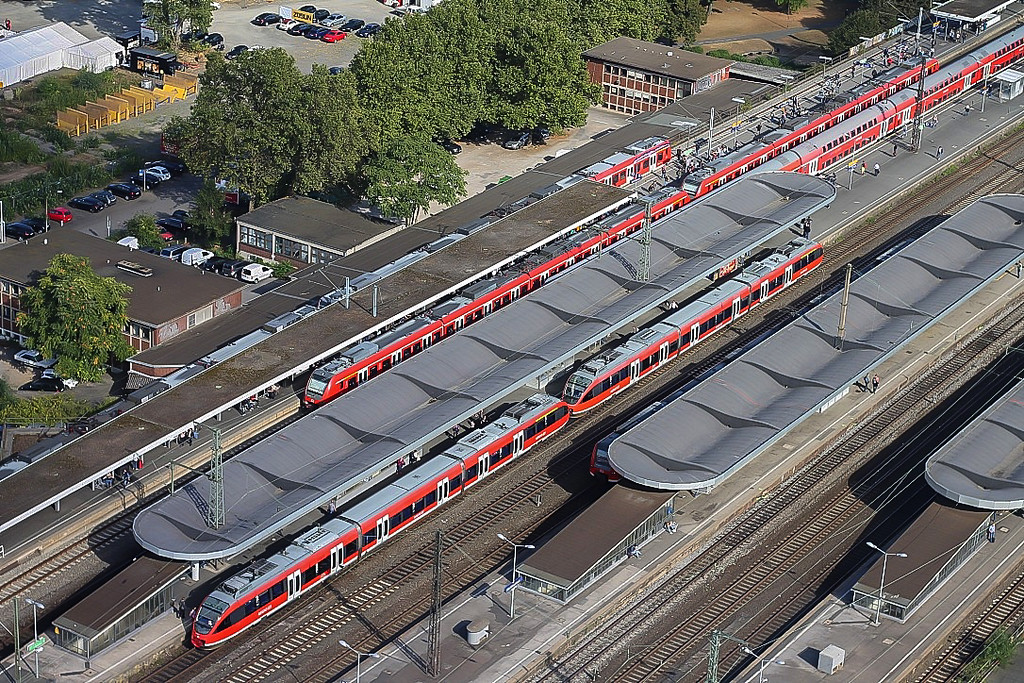 Train traffic viewed from Koln Triangle Tower in Cologne, Germany