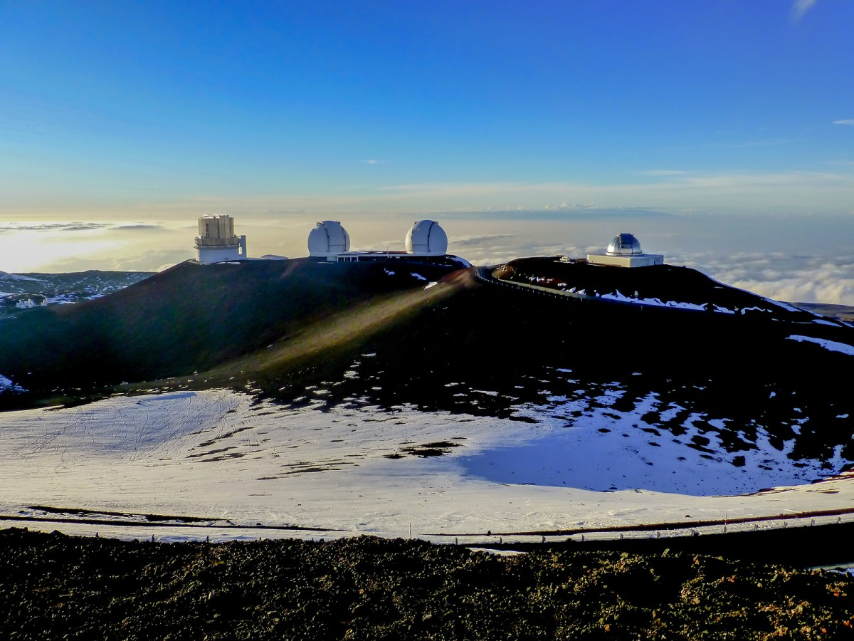 White dome observatories at Mauna Kea