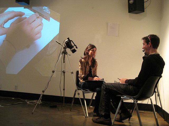 Julia Holter and Stephen Van Dyke share a collaborative writing session, at the Center for Integrated Media