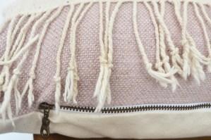 white mudcloth pink linen vintage lumbar pillow