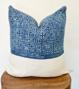 hmong vintage mudcloth white pillow