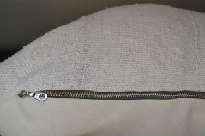 vintage white mudcloth fringe pillow