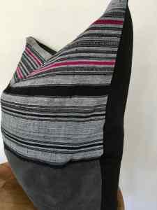 gray mudcloth + hmong hemp