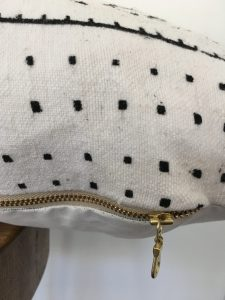 white patterned mudcloth lumbar