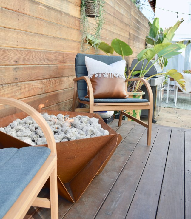 firepit and accent chairs
