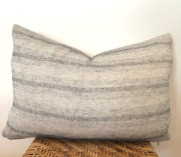 vintage subtle gray stripe lumbar pillow