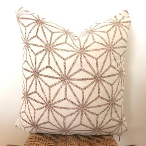 vintage ivory + brown pattern pillow