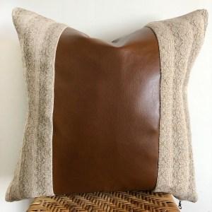 vintage beige + faux leather pillow