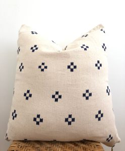 vintage navy block pillow