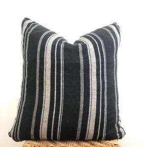 vintage black stripe pillow