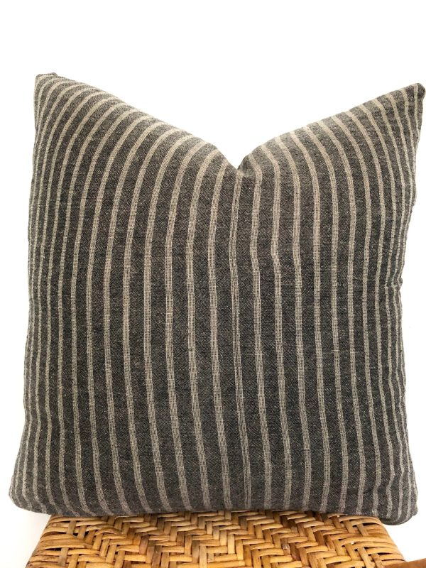 vintage gray stripe pillow