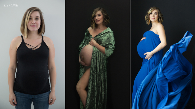 Before and after photos of a young pregnant mother