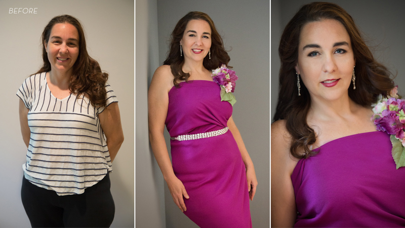 Before and after photos of a middle aged woman in fuscia