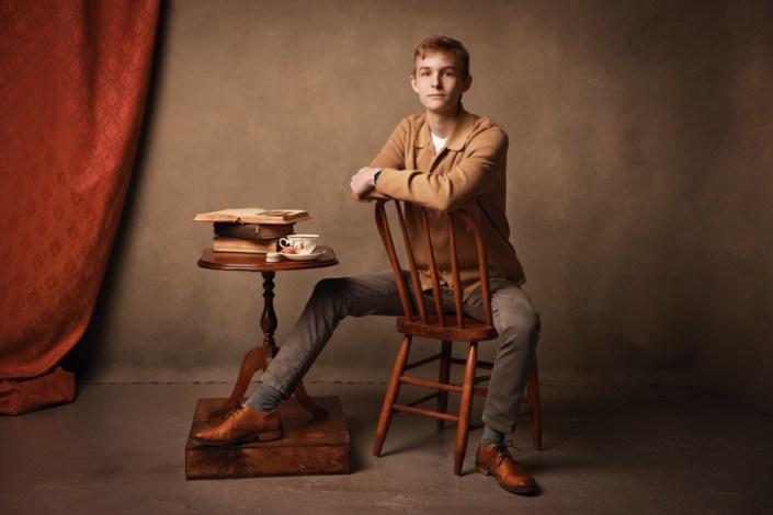 Portrait of a young man with a old-time vintage feel to it.