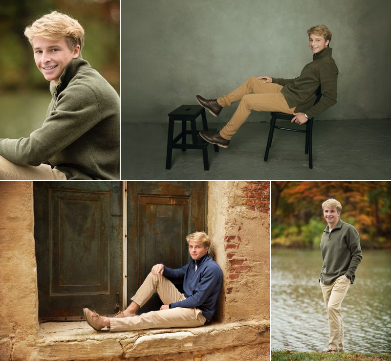 4 pictures of a high school senior boy in a green sweater